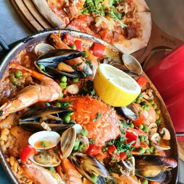 lamb pizza & seafood paella